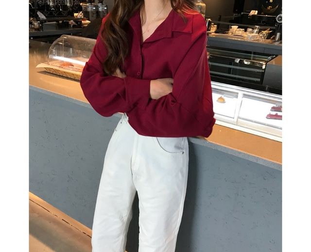 Autumn wine collar blouse