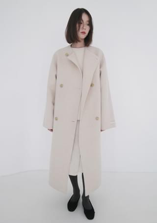 alpaca non-collar handmade coat (2colors)