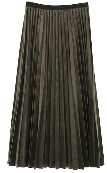 Velvet pleated long skirt