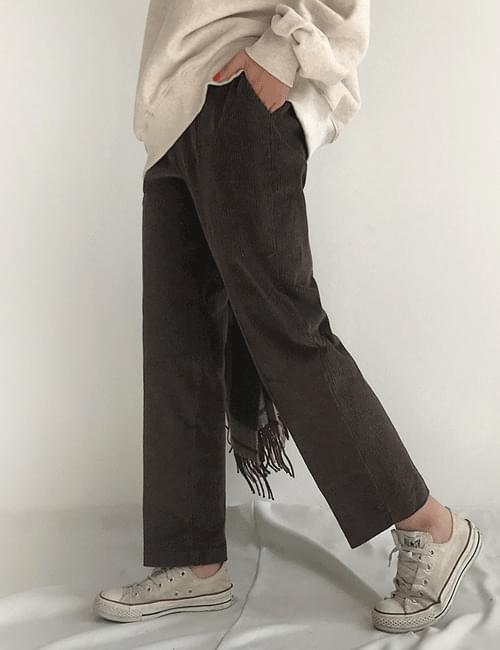 Corduroy half-bending pants