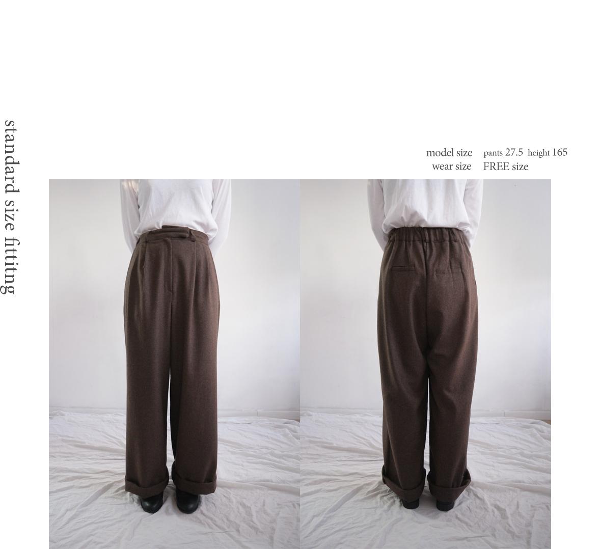 wide woolen long slacks (2colors)