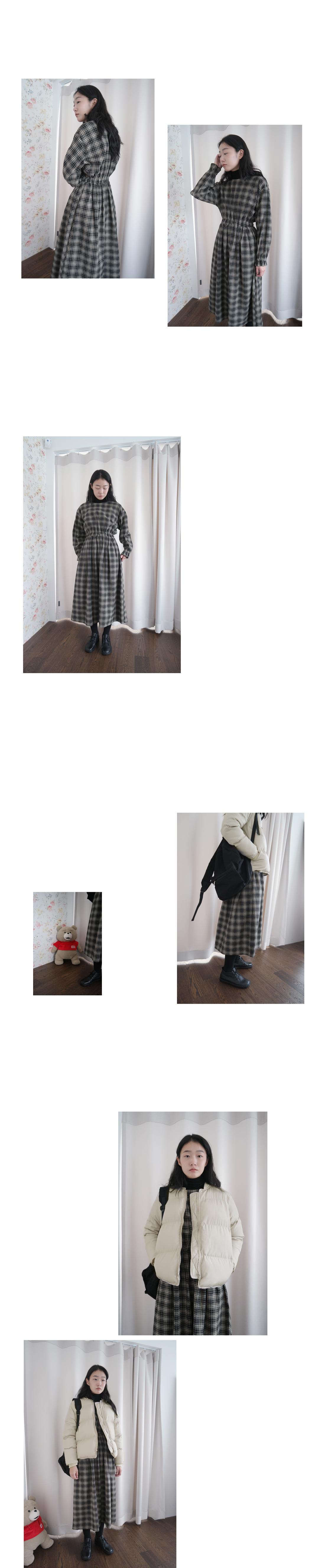 comfy check banding dress (2colors)