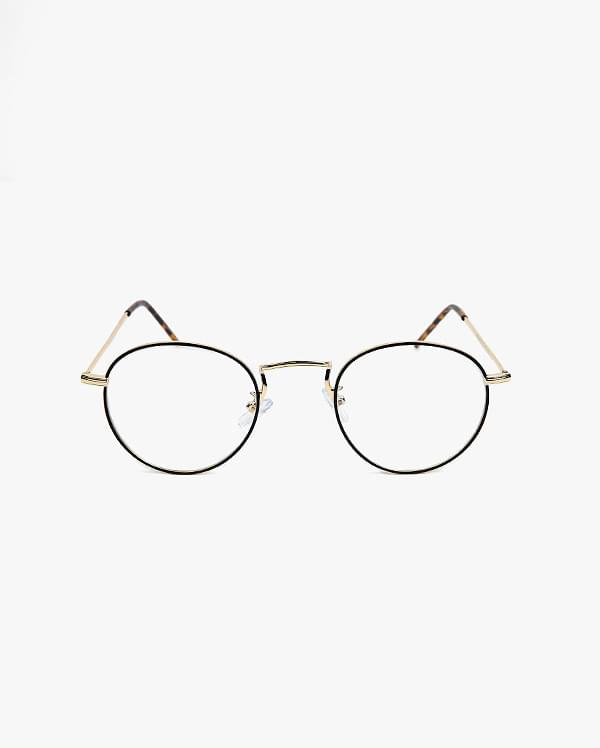 black line point glasses