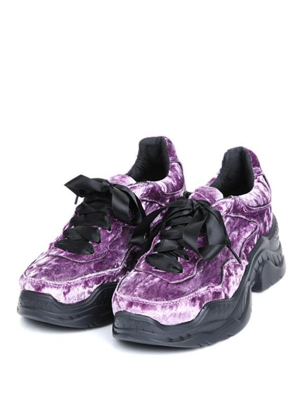 velvet platform sneakers