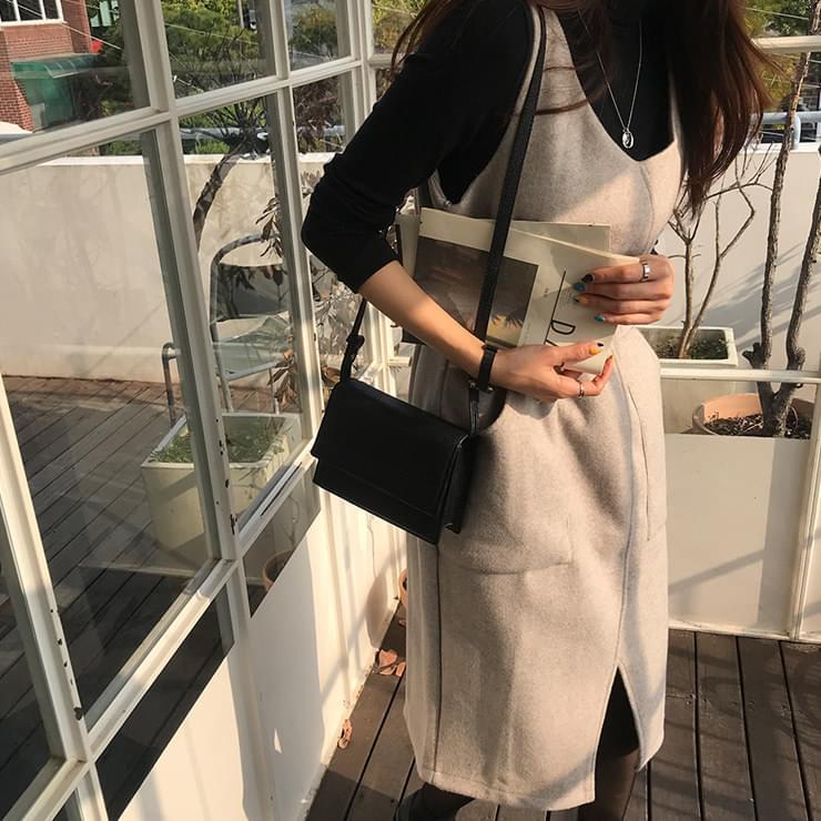 韓國空運 - Coma One Piece Wool 60% 及膝洋裝
