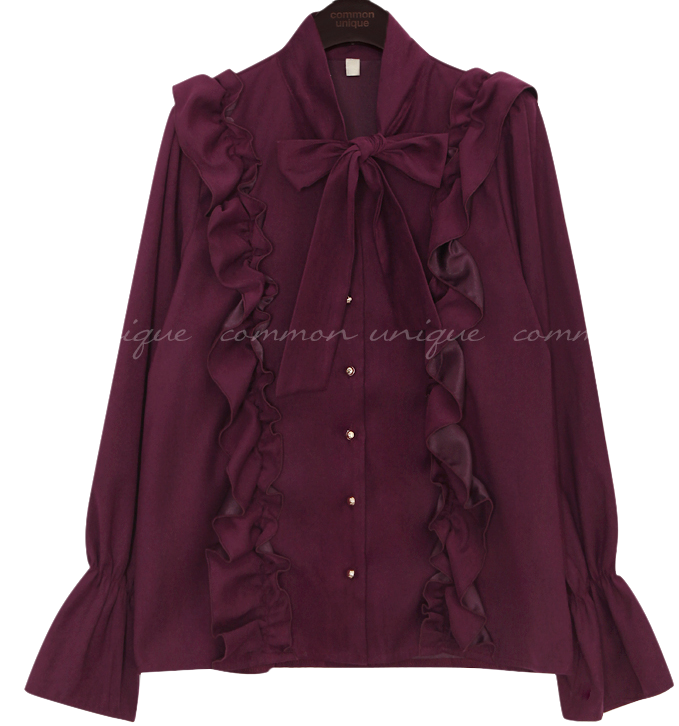 HARRY PEACH FRILL TIE BLOUSE