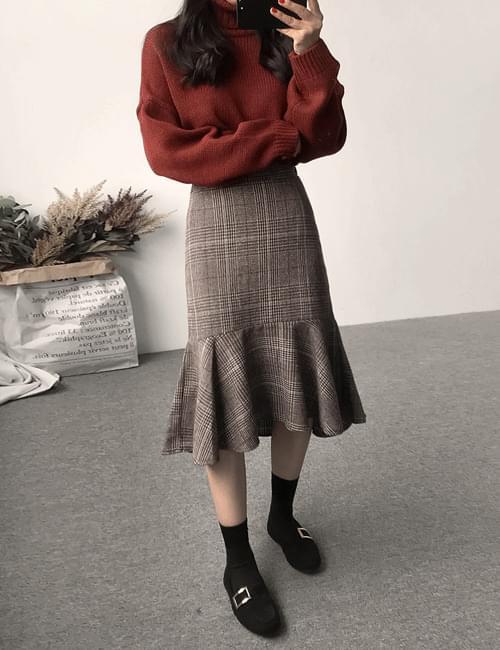Uomo check maid skirt