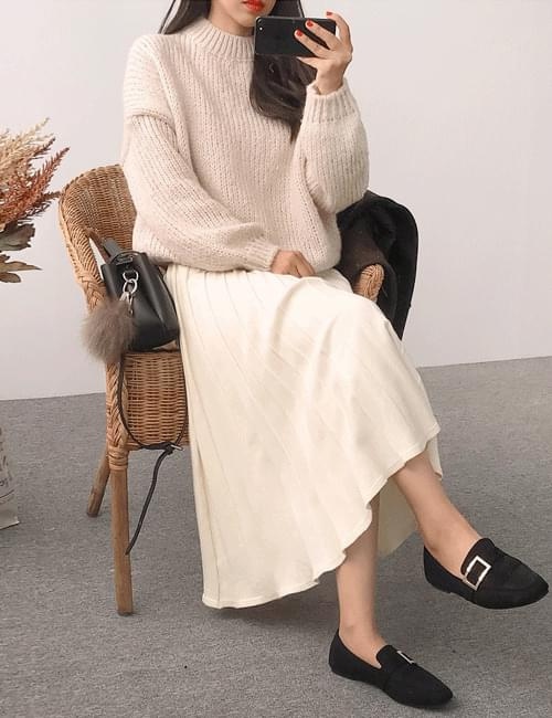 Ethnic knit flare long skirt