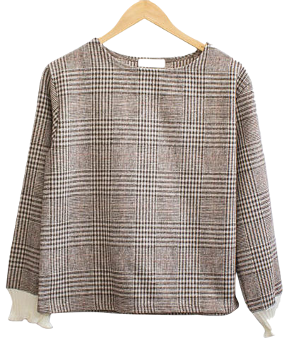 Shirring Glen Check Blouse
