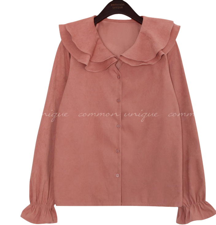 WAVE PEACH SAILOR COLLAR BLOUSE