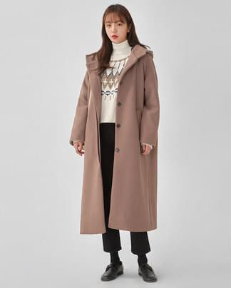 month hoody wool long coat