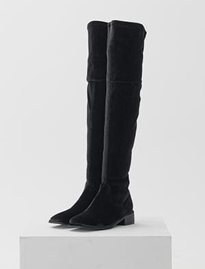 velvet thigh-high boots