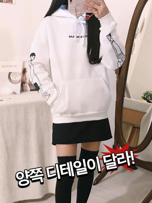 Leon art sleeve brushed hoodie