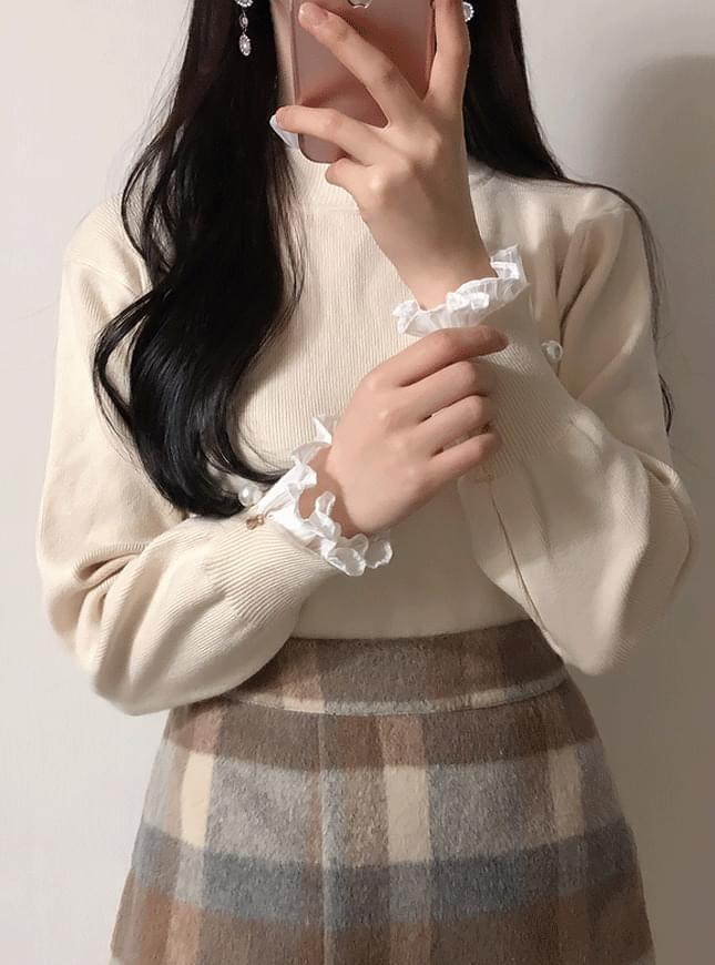 Order rush ♥ Lace Polar pearl knit t