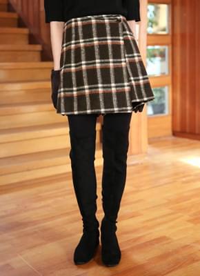 Wool 60 check skirt pants