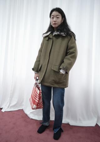 dumble collar half coat (2colors)