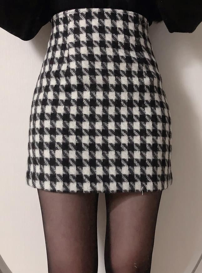 Wool 30% hound mini skirt