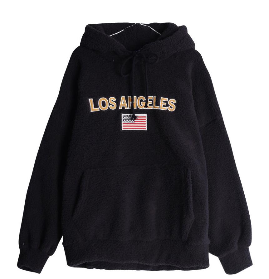 LA over fleece hoodie