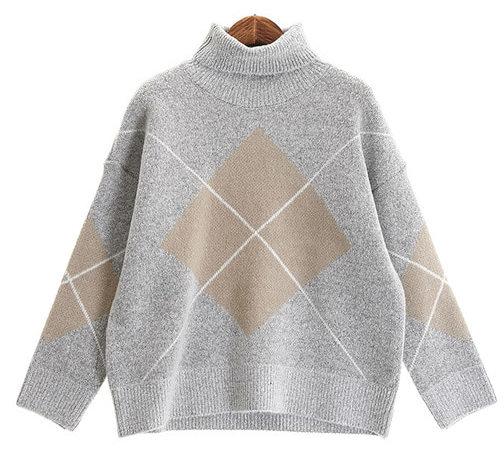 Lease argyle knit