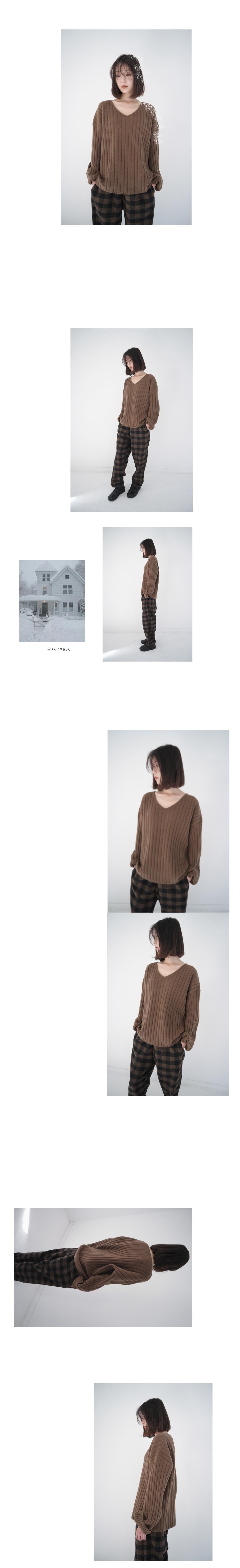 wide golgi V-neck knit (5colors)