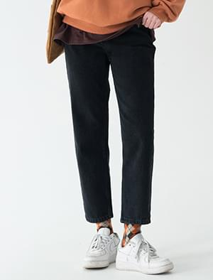 slit point napping denim pants