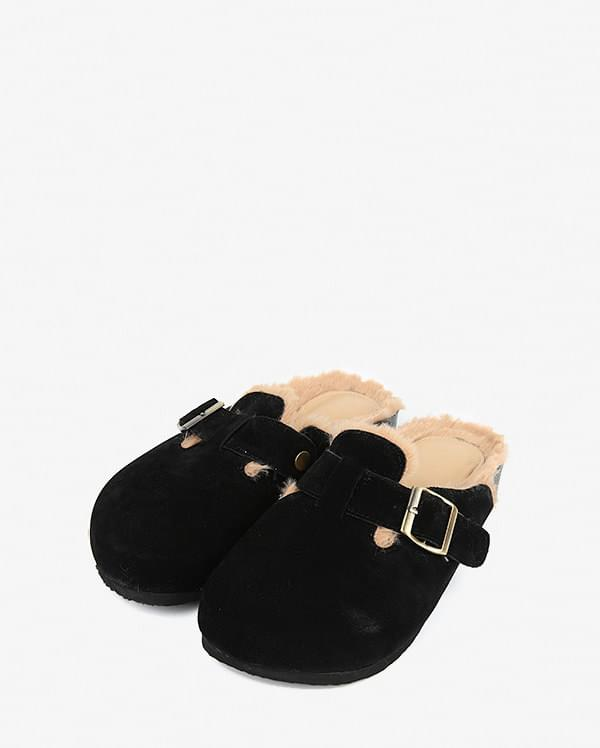round fur slipper