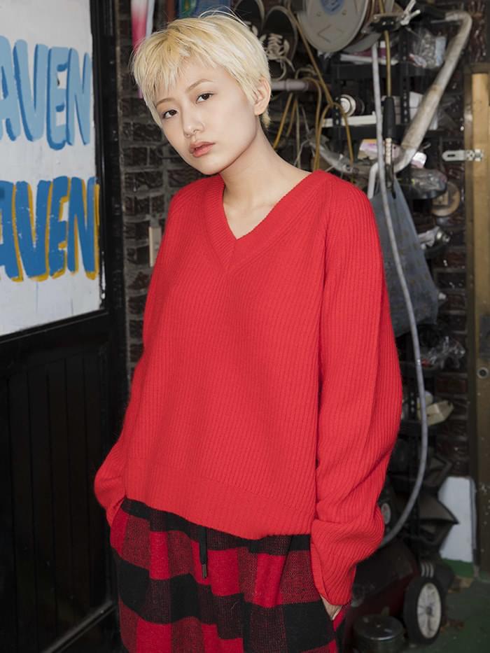 v-neck angora knit