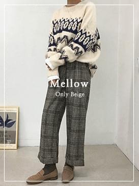 Wool mellow check pants