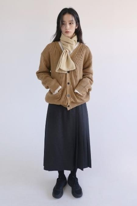 two-way pleats long skirt