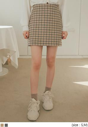 ISABEL WOOL 40% CHECK MINI SKIRT