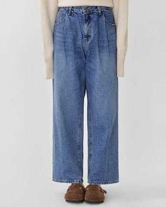 pintuck mannish denim pants