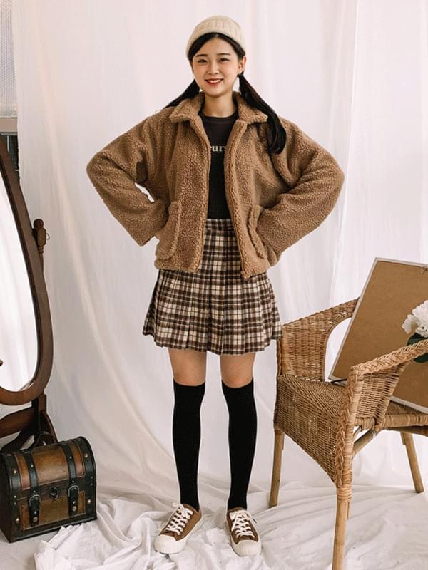 Wool Check Tennis Skirt