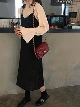 Long Velveteen bustier dress
