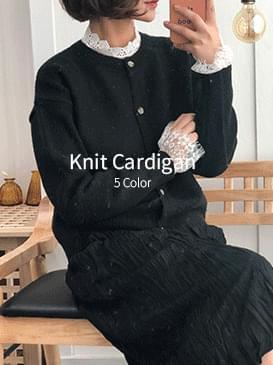 Round ball knit cardigan