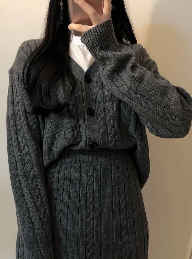 Wool cardigan knit + mini sk