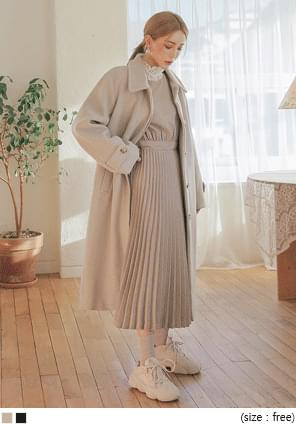 MUTE WOOL 70% HIDDEN LONG COAT