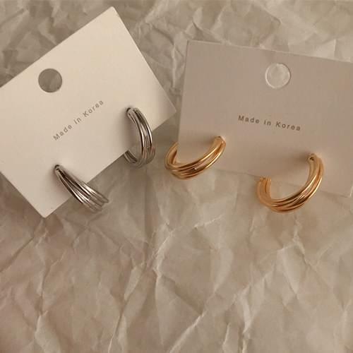 復古感紋路C字型耳環