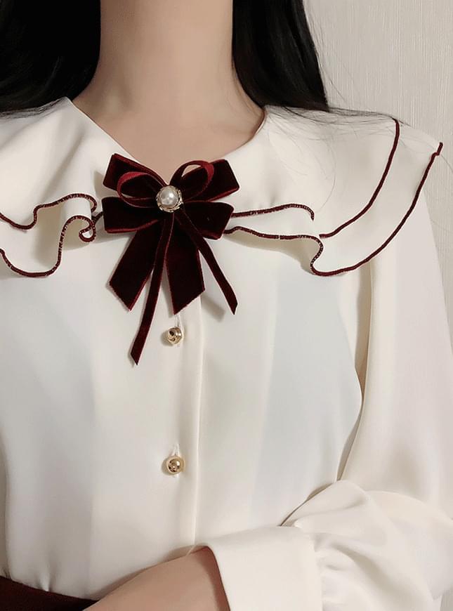 ♥ Brooch set Damen double ruffle blouse