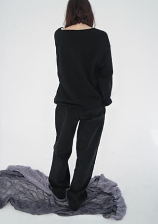 napping cotton maxi pants (black)