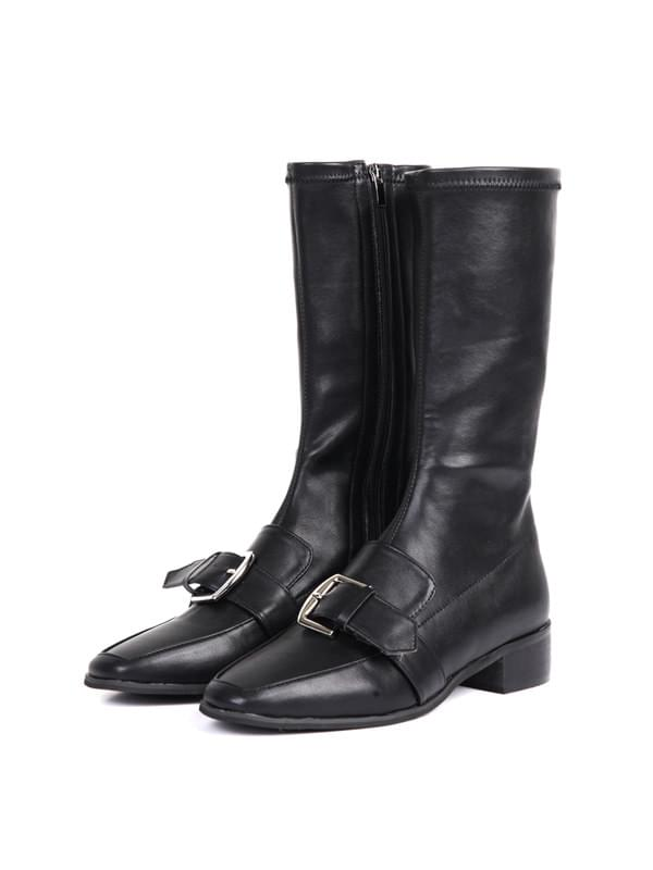 buckle slim mid boots