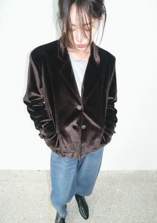 velour inner quilting petit jacket (dark brown)