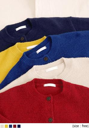 5 COLOR SPAN ROUND KNIT CARDIGAN