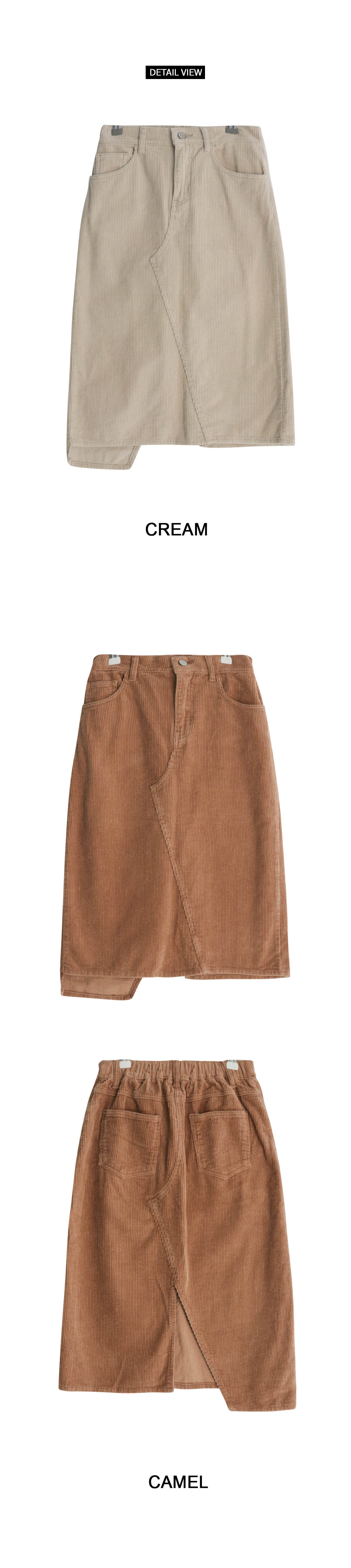 Uneven corduroy long skirt
