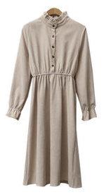 Frill corduroy dress