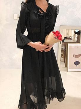 Chiffon Ruffle Kitsch Long Dress