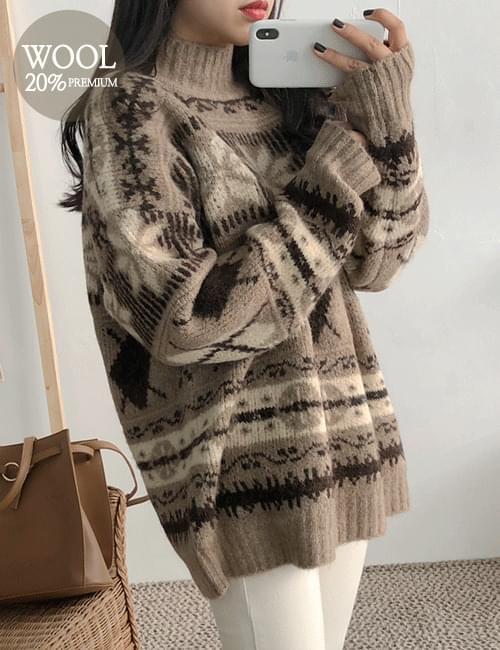 Argyle knitted snow flake