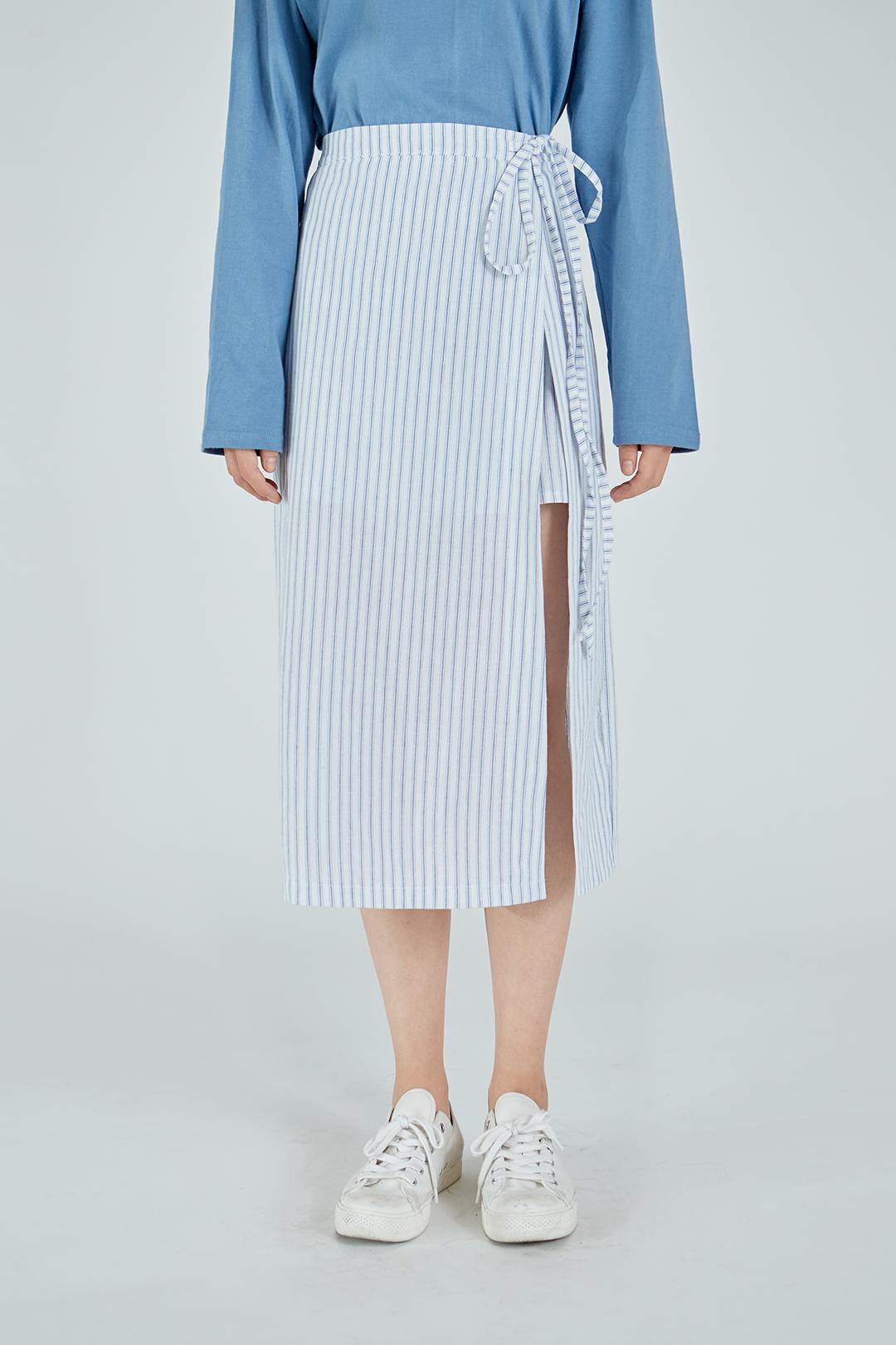 Unbalanced Striped Long Skirt