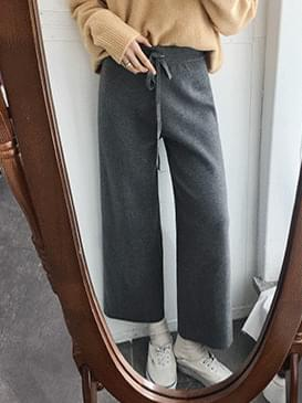 Wide cell knit slacks pants