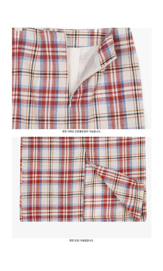 pepper check linen skirt (s, m)