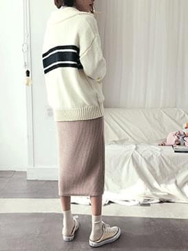 Knit gecko long skirt